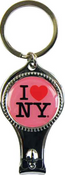 I Love NY Pink Round Nail Clipper Key Chain