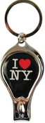 I Love NY Black Drop Shape Nail Clipper Key Chain