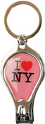 I Love NY Pink Drop Shape Nail Clipper Key Chain