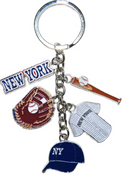 New York Baseball Charm Key Chain