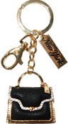 Black/Gold Bag Key Ring with New York Tag