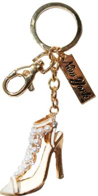 High Heel Sandal Key Ring with Diamonds & New York Tag photo