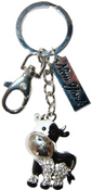 Black/White Cow Key Ring with Diamonds & New York Tag