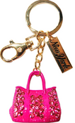 Gold/ Blue Guitar Key Ring with Diamonds & New York Tag