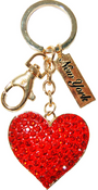 Red Heart Key Ring in Gold with Red Diamonds & New York Tag