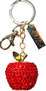 Red Apple Shape Key Ring with Red and Gold Diamonds & New York Tag photo