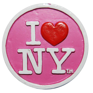 Poly Pink Circle Shaped I Love NY Magnet  photo