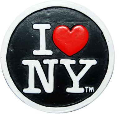Poly Black Circle Shaped I Love NY Magnet  photo