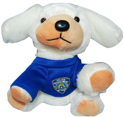 NYPD White Plush Puppy in Blue/ Logo T- Shirt  Photo