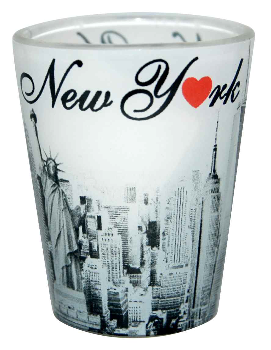 Clear/ Black & White Monuments/NY with Red Heart Shot Glass photo