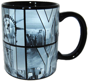 Black B&W NY Photo Window Letters 11oz Mug