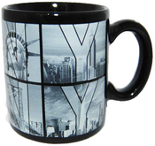 Black B&W NY Photo Window Letters Mini Mug