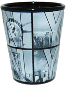 Black B&W NY Photo Window Letters Shot Glass