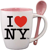 I Love NY White Mug with Pink Inside & Spoon in Color Box