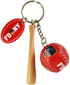FDNY Baseball 3D Red Key Ring with Bat & Tag