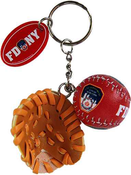 FDNY Red Baseball 3D Key Ring with Glove & Tag