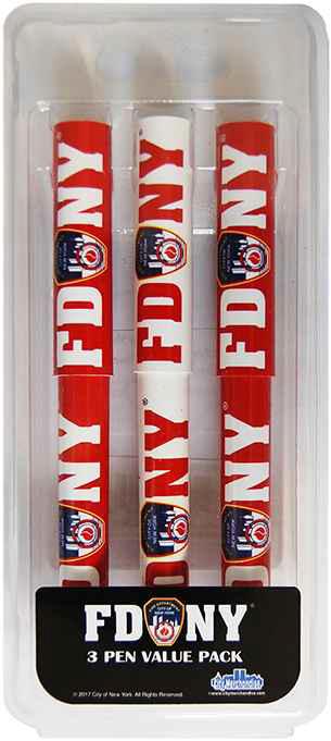 Fdny Red White 3Pc Pen Set-7766