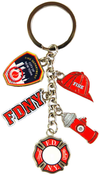 FDNY Dangle Key Ring with 5 Charms