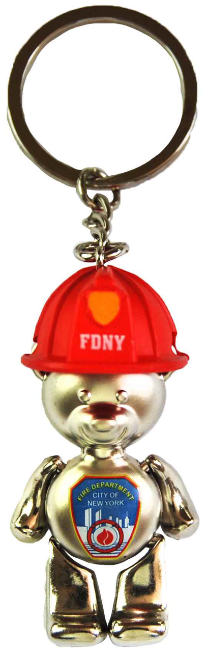 Fdny Silver Bear Key Ring In Helmet Logo