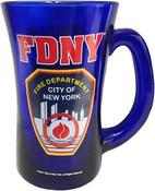 FDNY Cobalt Blue Shield/Logo Beer Mug