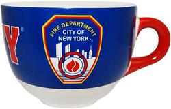 FDNY Blue with Red Handle Shield/ Logo Soup Mug Photo