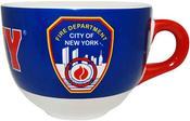 FDNY Blue with Red Handle Shield/ Logo Soup Mug