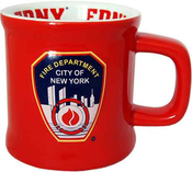 FDNY Red/ Shield Embossed Mug