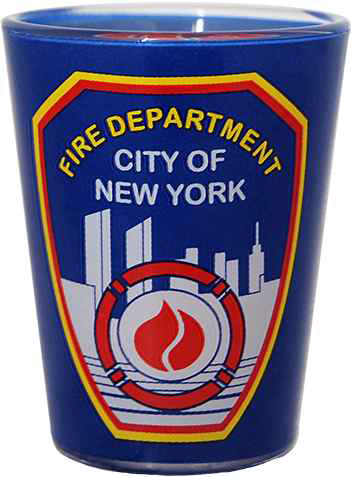 FDNY Clear with Blue Wrap Logo/ Shield Shot Glass  photo
