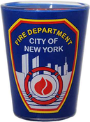 FDNY Clear with Blue Wrap Logo/ Shield Shot Glass