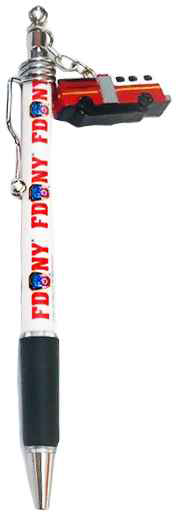 FDNY White Fire Engine Double Sided Dangle Pen photo
