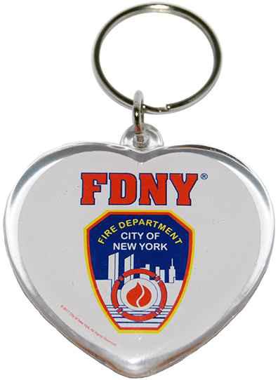 FDNY White Lucite Heart Shape Logo/ Shield Key Ring photo