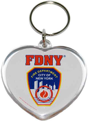 FDNY White Lucite Heart Shape Logo/ Shield Key Ring