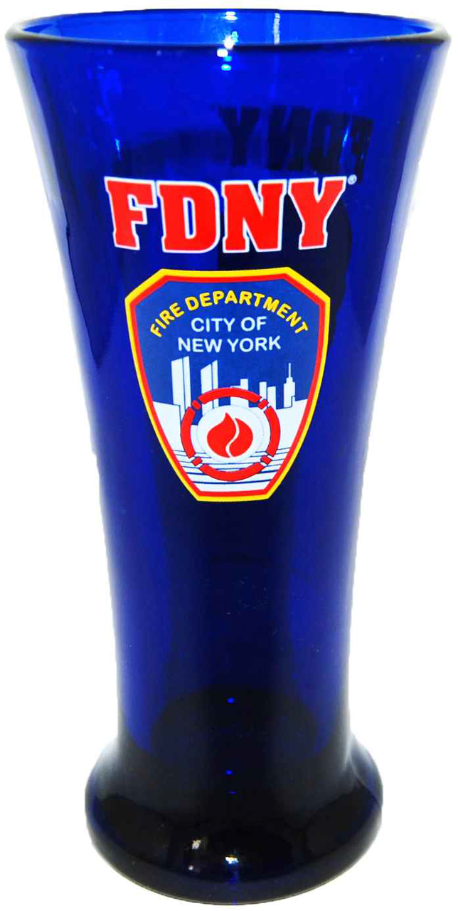 FDNY Cobalt Blue Logo/ Shield Flute Glass photo
