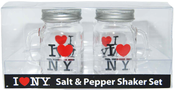 Clear Glass I Love NY Salt & Pepper Shakers 2 Pack