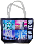 NYC Color Window Letters with Zipper Tote Bag