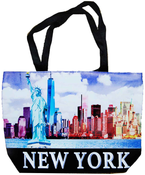New York Day Skyline Tote Bag with Zipper