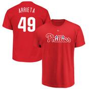 Jake Arrieta T-Shirt - Red Philadelphia Phillies Adult T-Shirt
