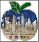 NY Blue Apple Skyline Metal Magnet Image