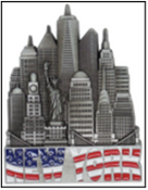 NY Skyline Over Flag Metal Magnet Image