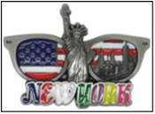 NY Skyline in Sunglasses Metal Magnet Image