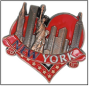NY Skyline in Red Heart Metal Magnet Image