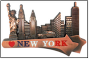 NY Underlined Skyline Metal Magnet Image