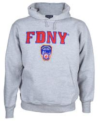 FDNY Embroidered Ash Hooded Sweatshirt Photo