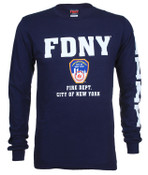 FDNY Full Chest And Sleeve LS Tee - Navy