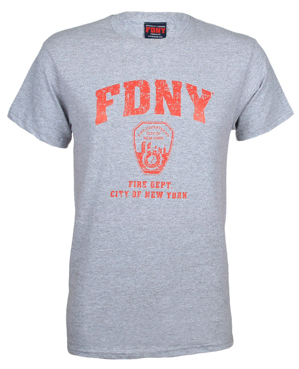 FDNY Distressed Ash / Red Tee photo