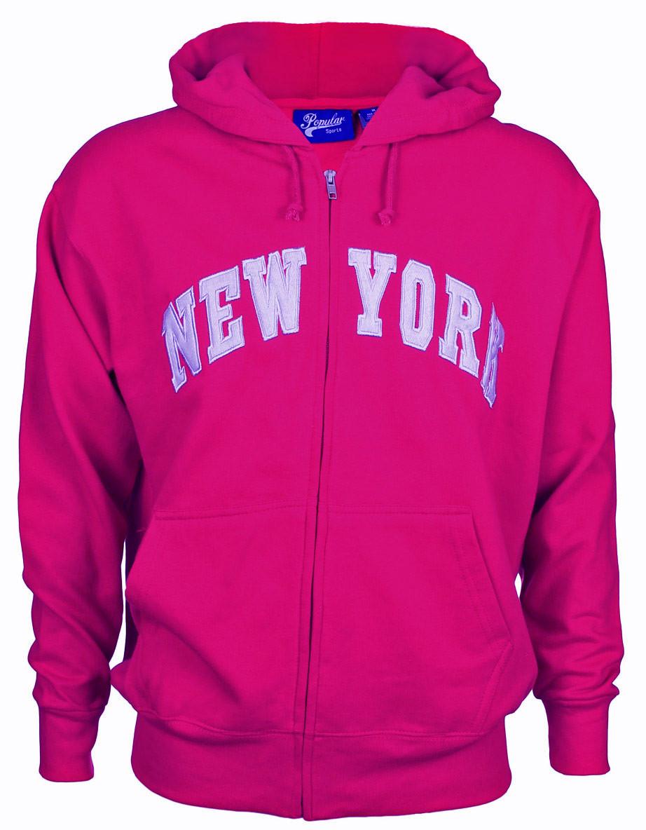 New York Fuschia Zipper Hoodie photo