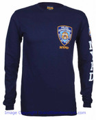 NYPD Patch and Sleeve Navy LS Tee - front