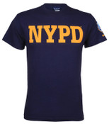 NYPD Yellow Print Patch on Sleeve Navy Tee - front