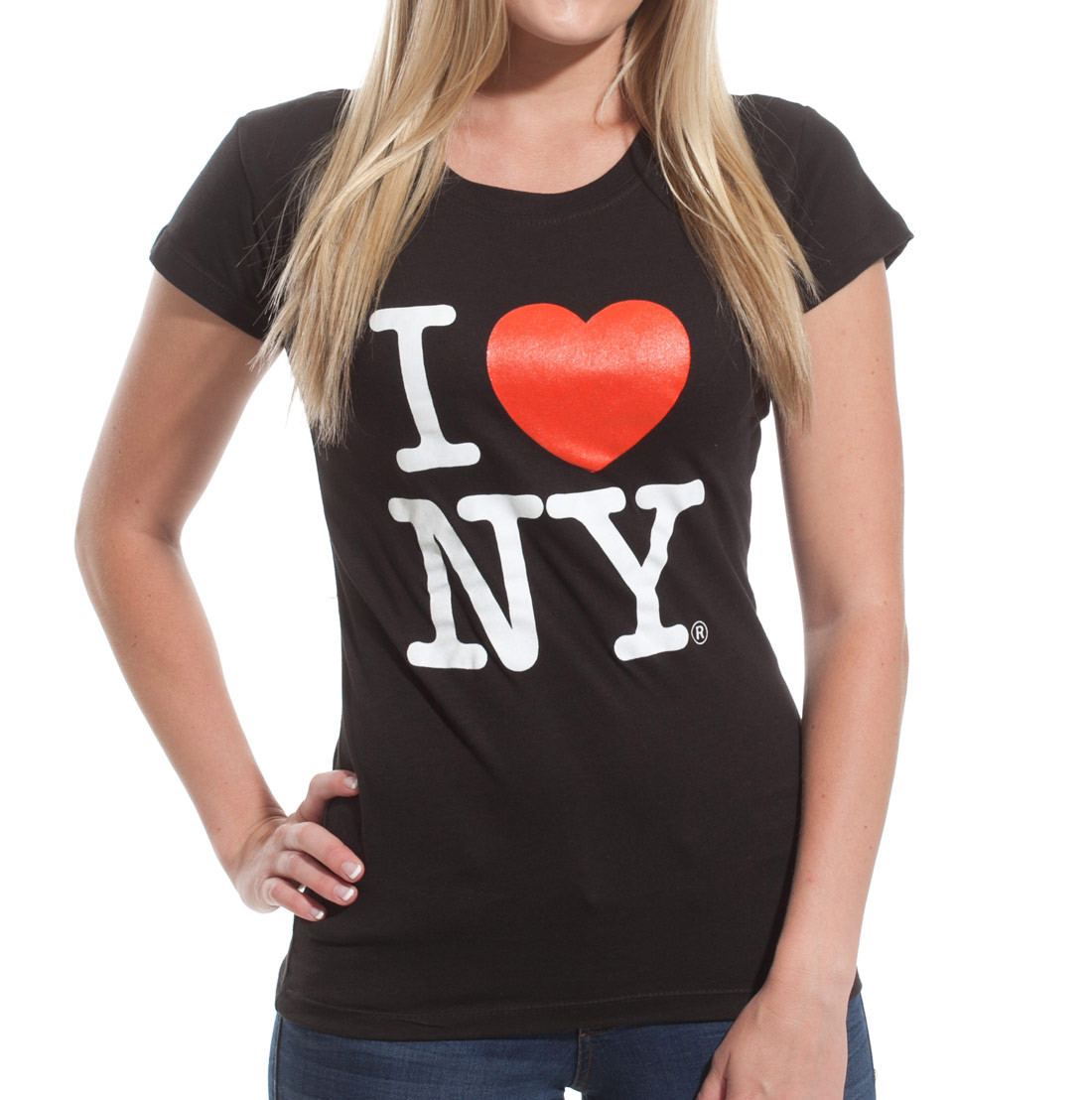 Black I Love NY Fitted Tee Shirt Photo. Loading zoom bd7dd219e01