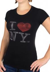 I Love NY Rhinestone Black Ladies Tee Photo
